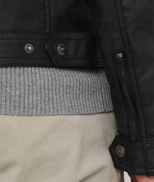 Keels Mens Mandarin Collar Casual Slimfit Cafe Racer Jacket