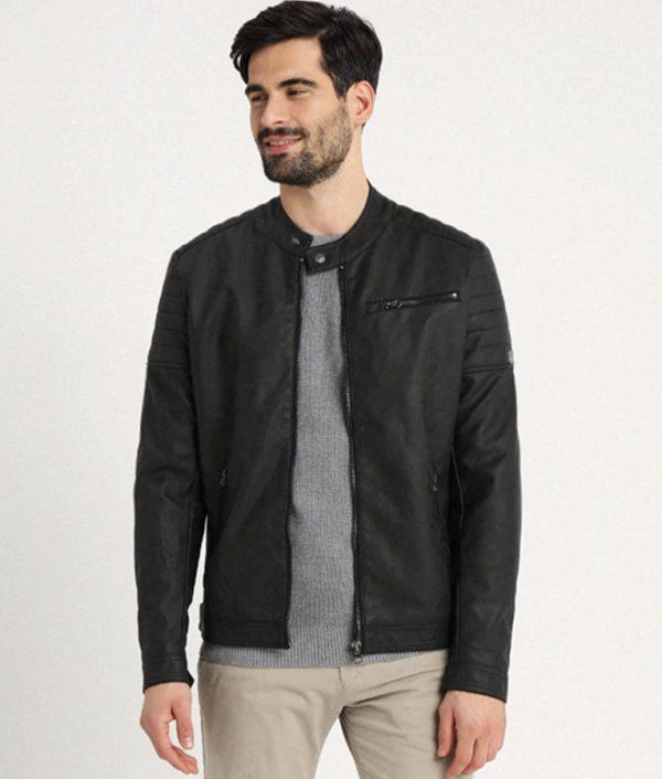 Keels Mens Mandarin Collar Casual Slimfit Cafe Racer Leather Jacket