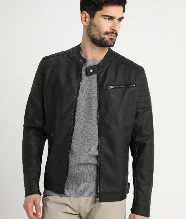 Mens Mandarin Collar Casual Slimfit Cafe Racer Leather Jacket