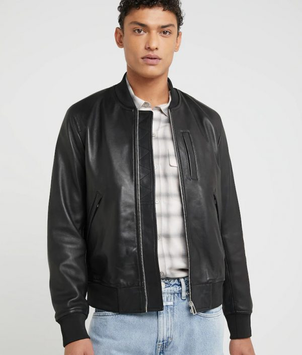 Kenneth Mens Standing Collar Black Bomber Leather Jacket