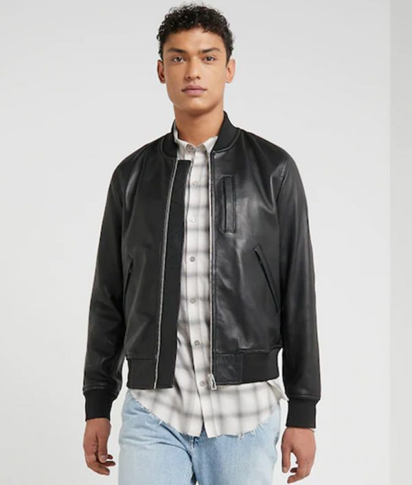 Kenneth Mens Standing Collar Black Café Racer Bomber Leather Jacket