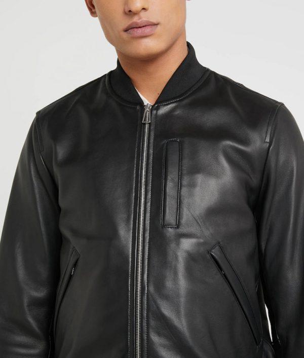Kenneth Mens Black Café Racer Bomber Leather Jacket