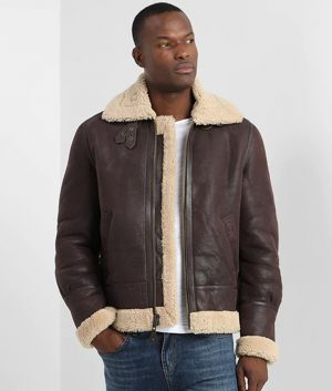 Leclerc Mens Lined Collar Warm Padding Brown Leather Jacket