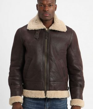 Leclerc Mens Lined Collar Warm Padding Leather Jacket