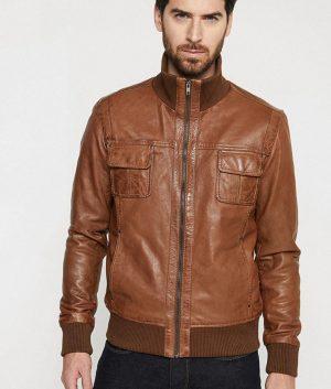 Leflore Mens Standing Collar Brown Slimfit Café Racer Leather Jacket