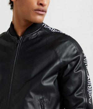 Leonard Mens Mandarin Collar Bomber Leather Jacket