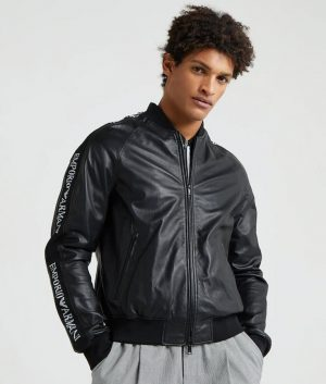 Leonard Mens Mandarin Collar Biker Bomber Leather Jacket