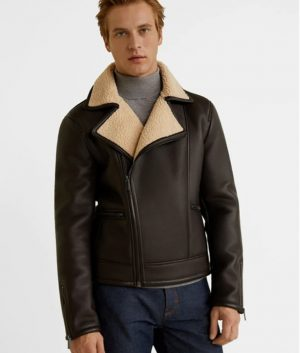 Mens Shearling Fur Collar Brown Leather Jacket