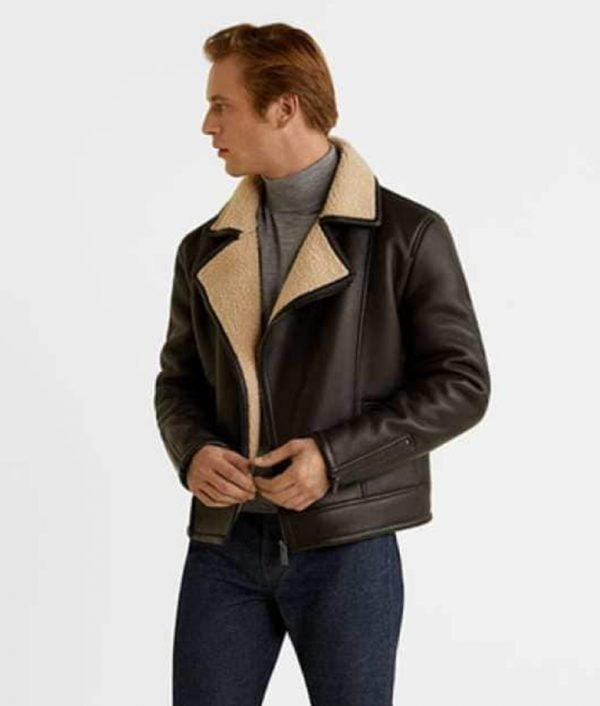 Logan Mens Shearling Fur Brown Leather Jacket