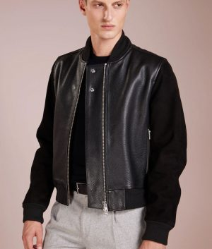 Logan Mens Standing Collar Black Bomber Leather Jacket