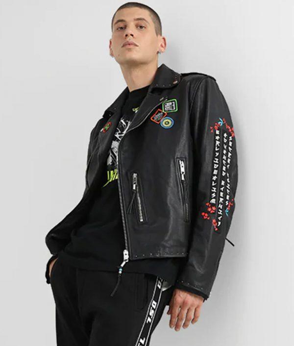 Luis Mens Decorative Studs Black Leather Jacket