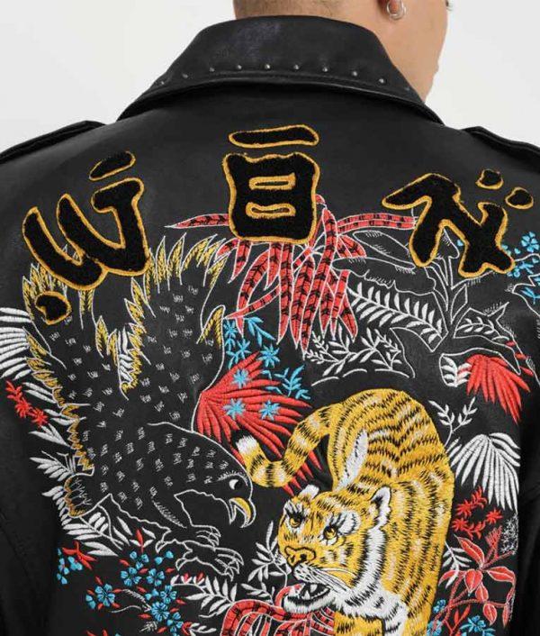 Luis Mens Lapel Collar Decorative Studs Black Jacket
