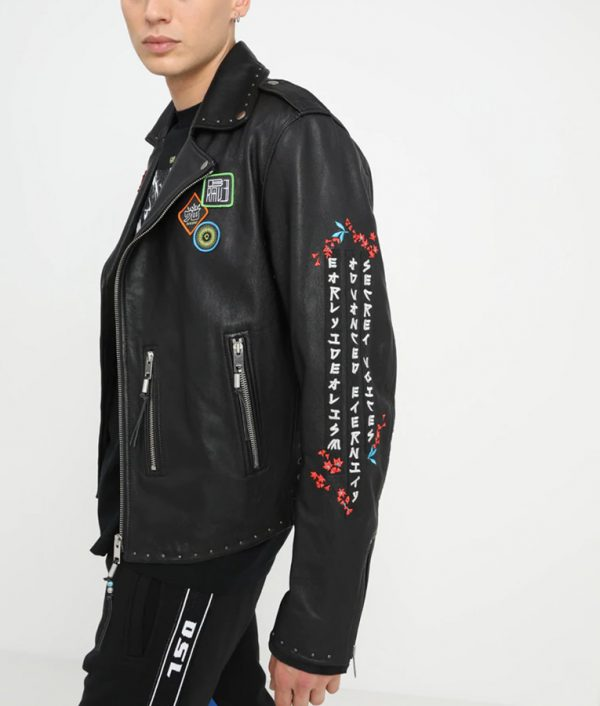 Luis Mens Lapel Collar Decorative Studs Black Leather Jacket
