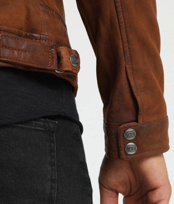 McCluskey Mandarin Collar Whisky Leather Jacket