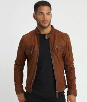 McCluskey Whisky Slimfit Cafe Racer Leather Jacket