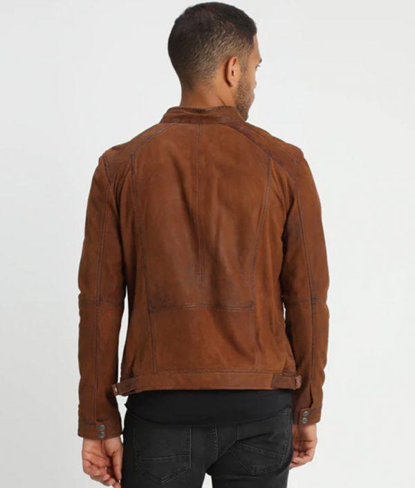 McCluskey Mandarin Collar Whisky Slimfit Cafe Racer Leather Jacket