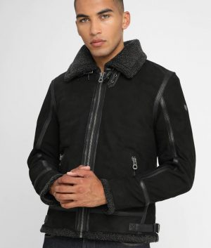 McLaughlin Mens Turn Down Collar Black Leather Jacket