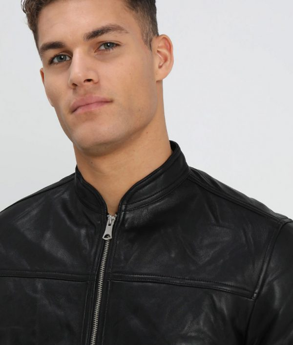 Charles Mens Casual Café Racer Style Black Leather Jacket