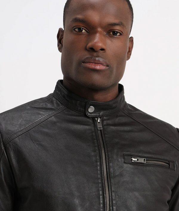 Alexan der Mens Classic Slimfit Cafe Racer Style Leather Jacket