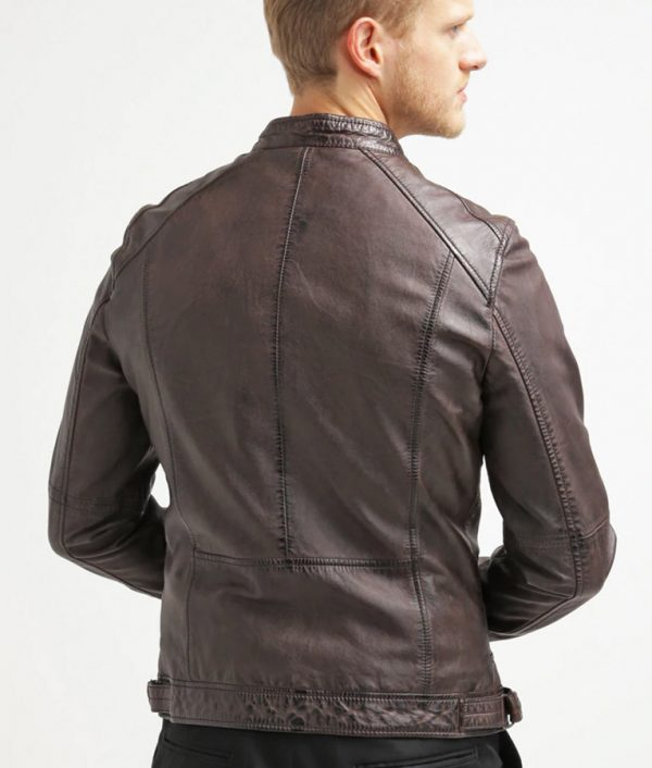 Azevedo Mens Dark Brown Stand Collar Leather Jacket