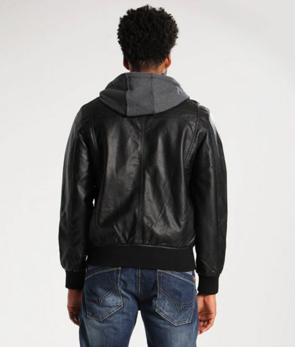Adam Mens Hooded Bomber Leather Jacket