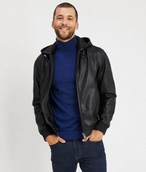 Jackie Mens Hooded Collar Café Racer Bomber Leather Jacket