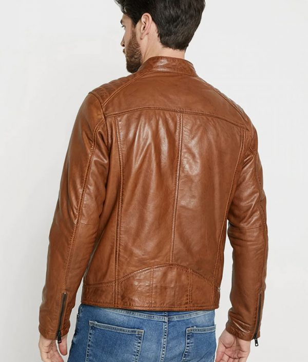 Bright Mens Hooded Collar Brown Leather Jacket