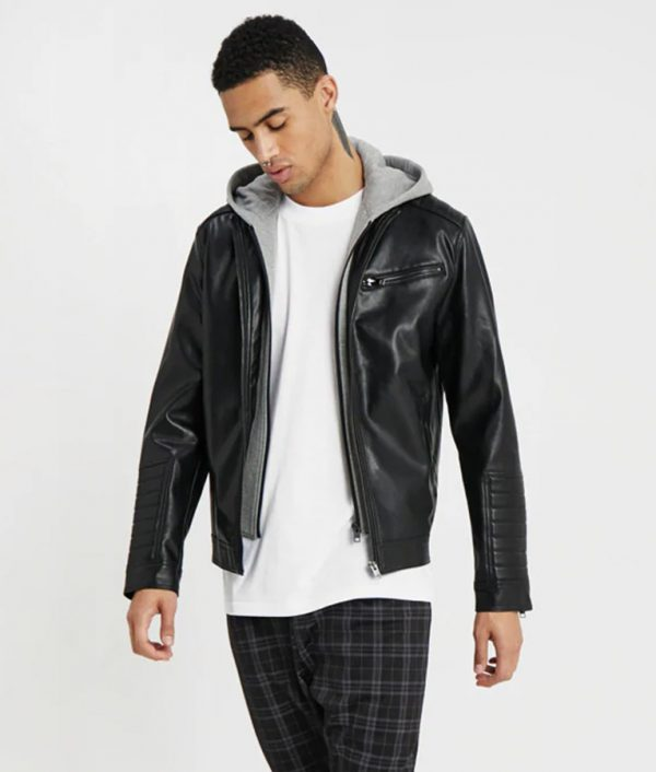 Michael Mens Hooded Collar Slimfit Leather Jacket