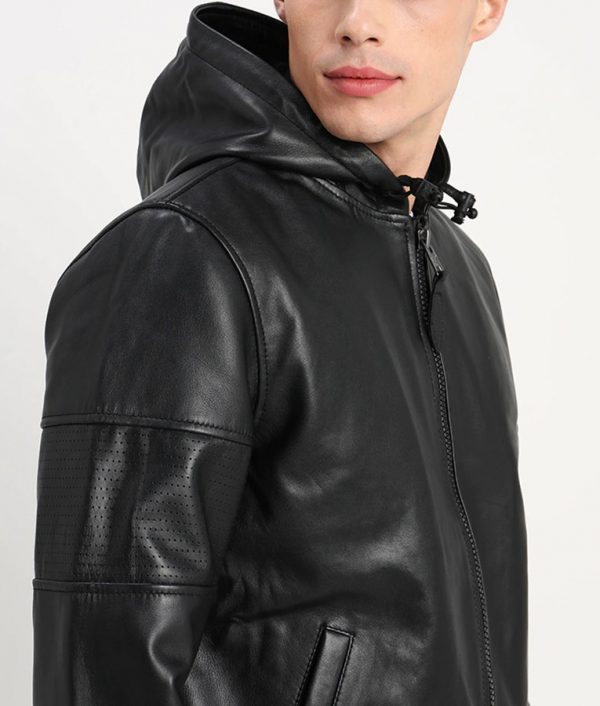 Garfield Mens Zip Up Bomber Black Leather Jacket