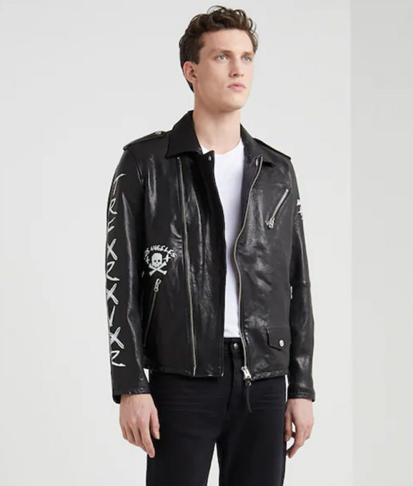 Charlie Mens Lapel Collar Motorcycle Leather Jacket