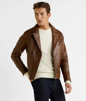 Jackey Mens Lapel Collar Brown Motorcycle Style Leather Jacket