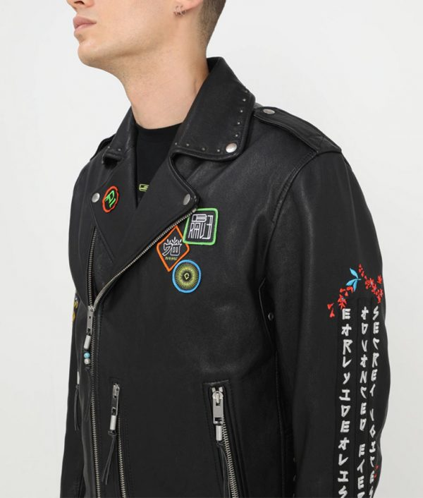 Luis Mens Lapel Collar Decorative Studs Jacket