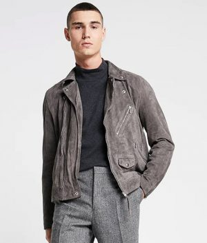Jefferson Mens Lapel Collar Grey Leather Jacket