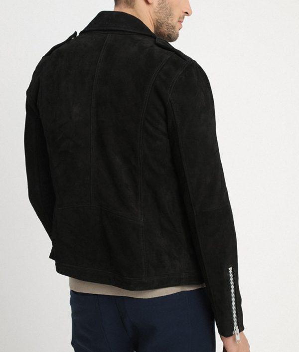 Jamie Mens Lapel Collar Seude Leather Black Motorcycle Jacket