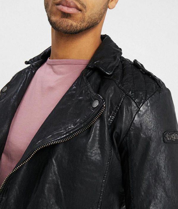 Richard Mens Slimfit Black Motorcycle Leather Jacket