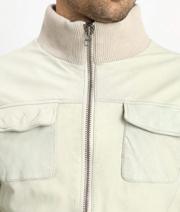 Darin Mens Light Grey Flat Pockets Leather Jacket
