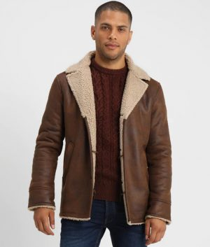 Glenn Mens Lined Collar Distressed Leather Jacket