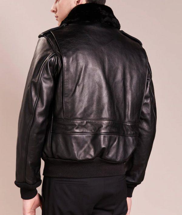 Daniel Mens Lined Collar Slimfit Black Leather Jacket