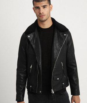 Mitchell Mens Lined Collar Leather Jacket