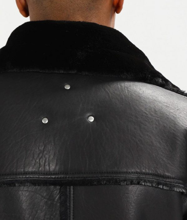 Travis Mens Lined collar Shearling Leather Jacket