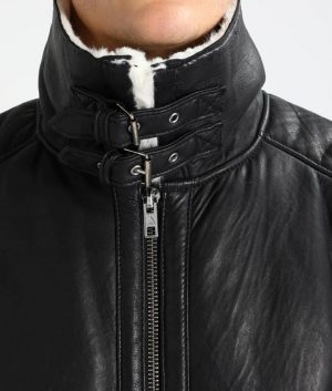 Rogers Mens Lined collar Shearling Casual Leather Jacket