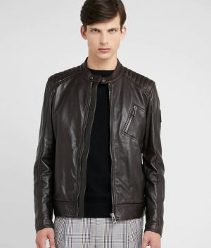 Ethan Mens Mandarin Collar Café Racer Leather Jacket