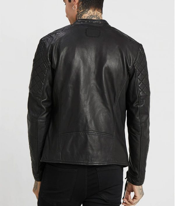 Kauffman Mens Mandarin Collar Black Cafe Racer Leather Jacket