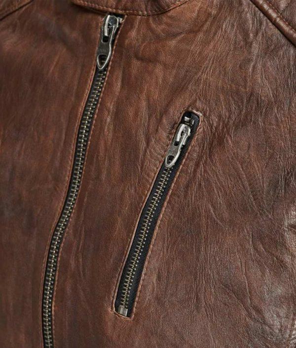 Harry Mens Mandarin Collar Café Racer Leather Jacket