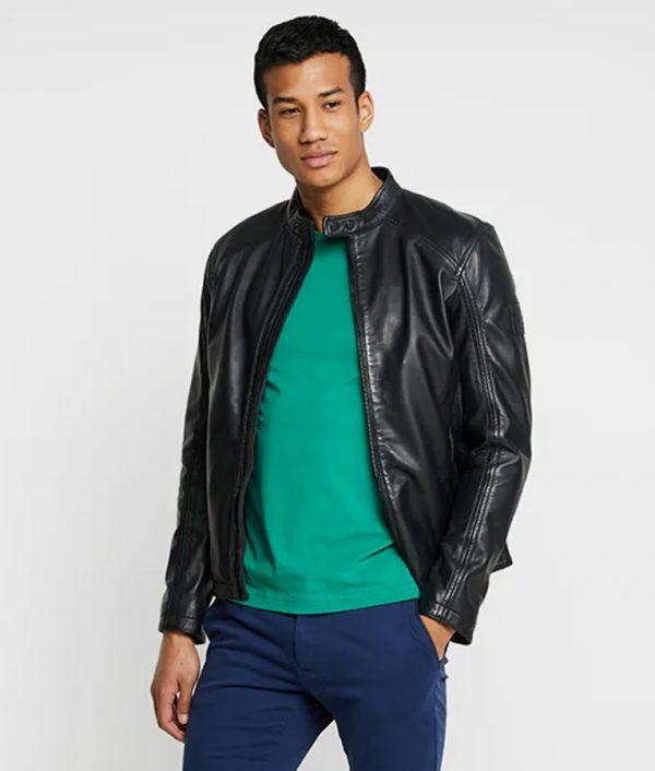 Mike Mens Mandarin Collar Casual Black Café Racer Leather Jacket