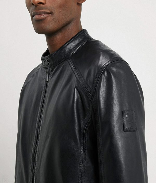 Allen Mens Mandarin Collar Casual Black Leather Jacket