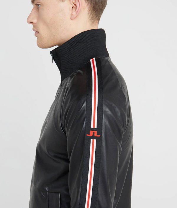 Bonner Mens Mandarin Collar Slimfit Black Leather Jacket