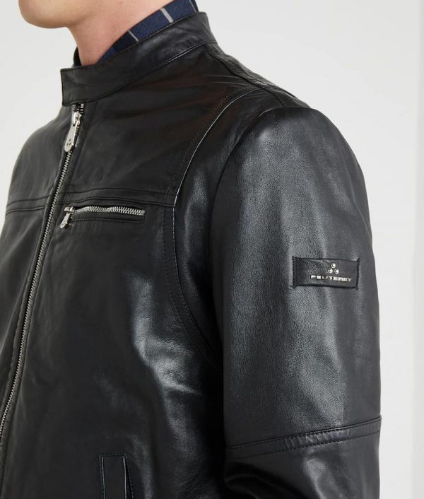 Arturo Mens Mandarin Collar Slimfit Café Racer Leather Jacket