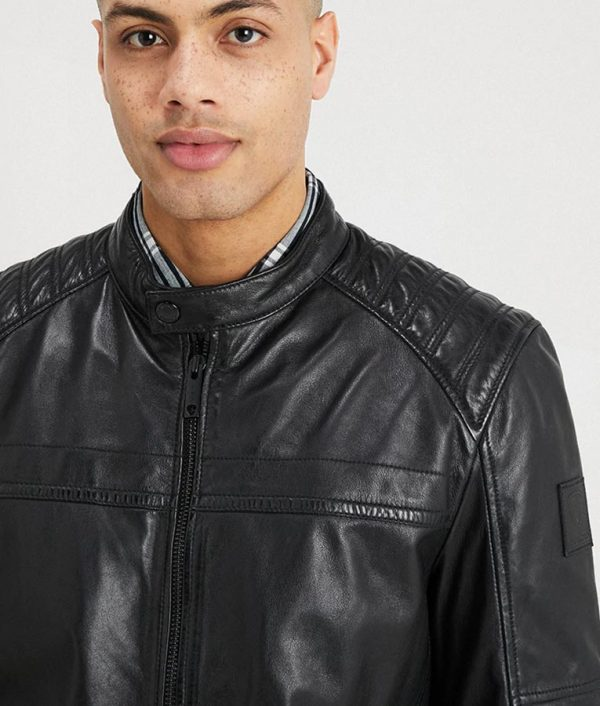 Connelly Mens Mandarin Collar Slimfit Café Racer Leather Jacket