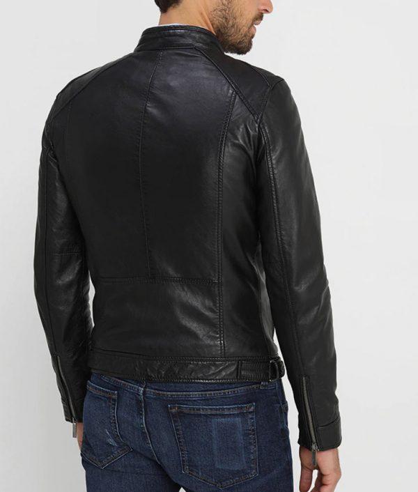 Waldron Mens Mandarin Collar Black Café Racer Leather Jacket